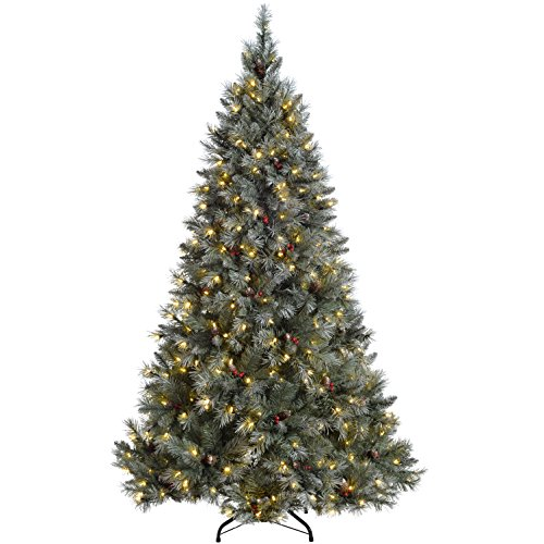 WeRChristmas Pre-Lit Scandinavian Spruce Pine Cone and Berry Christmas Tree with 400 Warm White Candle LED Lights, Green, 7 feet/2.1 m