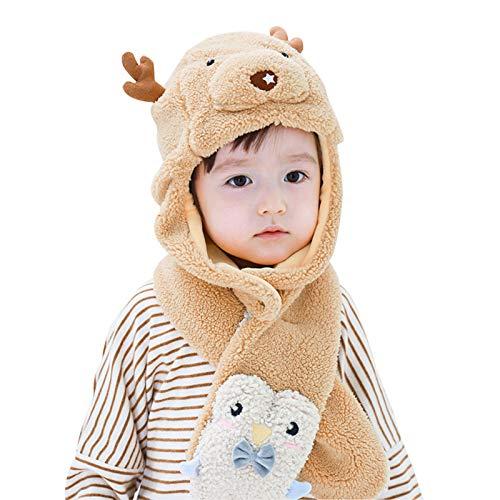 WFF sombrero Conjunto de sombrero de piel sintética de niños con sombrero de cálido y bufanda gruesa, niño Doble de dibujos animados Orejas de ciervo de punto for niños de 1 a 5 años gorro de puntogor