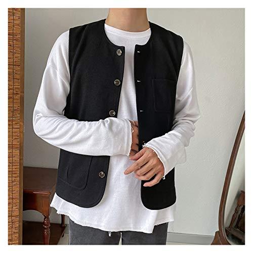 DUOER home Lleva un chaleco a principios de la primavera con un bonito estilo informal y autocultivo (color: negro, tamaño: XL).