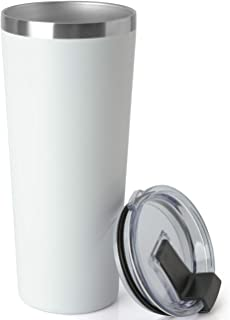 COMOOO 22oz/1 Pack Double Wall Vacuum Insulated Travel Mug, Stainless Steel Tumbler with Lid, Durable Powder Coated Insulated Coffee Cup for Cold & Hot Drinks (White, 22oz-1 Pack)