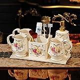 Conjunto de lavado de baño Accesorios de baño de cerámica Conjunto Dispensador de jabón Soporte de cepillo de dientes y tazas con plato de jabón de bandeja Lavabo para lavabo 6 piezas Conjunto Regalos