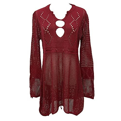 Cubierta de traje de baño para las mujeres cuello en V ahueca hacia fuera Ganchillo gasa verano playa tops cubierta de red vestido bikini, Vino Tinto,