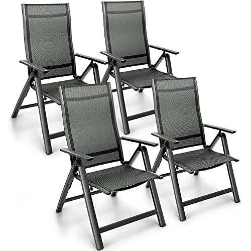 tillvex Gartenstuhl Premium 4er Set klappbar aus Aluminium | Hochlehner mit Armlehnen | Klappstuhl verstellbar | Klappsessel Balkon Garten Terrasse (Anthrazit)