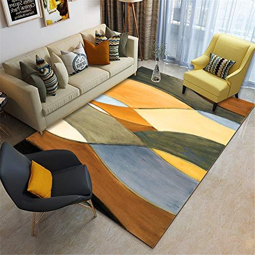 RUGMYW Lavable Alfombra del Piso Elementos Abstractos Cian Azul Beige Amarillo Naranja Negro alfombras Pelo Corto Salon 80X160cm