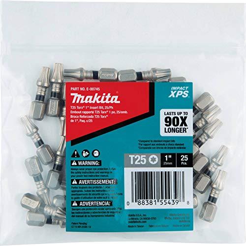 Makita E-00745 Impact XPS T25 Torx 1' Insert Bit, 25/pk, Bulk