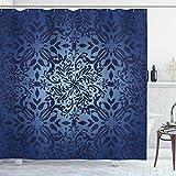 Cortina de Ducha Oriental, Flores rizadas inspiradas en Mandala y Detalles de Hojas, ilustración de Marco, Conjunto de decoración de baño de Tela de Tela con Ganchos, Azul Violeta