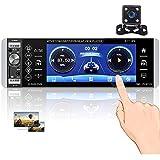Hikity RDS Radio de Coche 1 DIN Bluetooth Autoradio con 5 Pulgadas Pantalla táctil Estéreo del Coche con Asistente de Voz FM/Am USB SD AUX-IN + Cámara de Visión Trasera + Micrófono
