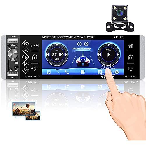 Hikity RDS 1 Din Bluetooth Autoradio 5 Zoll Touchscreen Autostereo mit Sprachassistent FM/AM USB SD AUX-IN + Rückfahrkamera + Mikrofon