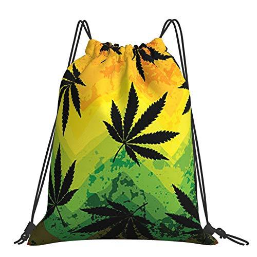 Tanersoned Hemp Leaves Drawstring Bags Gym Bag Backpacks Travelling Knapsack Portable