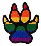 Rainbow Gay Pride Dog Pawprint Furry Pride Sew On Patch