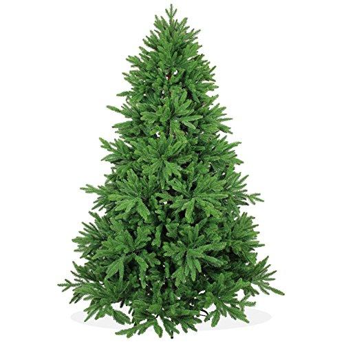 Árbol de Navidad artificial DeLuxe de 210 cm, 2,1 m de alta calidad, tipo abeto de lujo de Nordmann / del Cáucaso/boreal, puntas y hojas de pino moldeadas por inyección perfecta de polietileno, sistema de apertura plegable, en color verde, incl. soporte de metal, poco inflamable, sin adornos, sin luces de Navidad