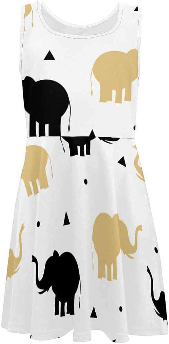 INTERESTPRINT Girls Sleeveless Casual Dresses School Party Beach Cute Bear Rocket Star (2T-XL)
