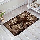 Western Texas Star Doormat Rustic Non Slip Indoor Door Mats Rug for Home Kitchen Bathroom