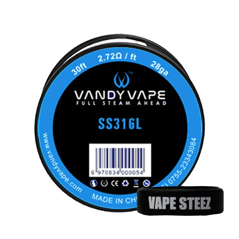VANDYVAPE製 交換コイル SS316L/28ga 30ft(9.144メートル) VAPESTEEZオリジナルバンド付き