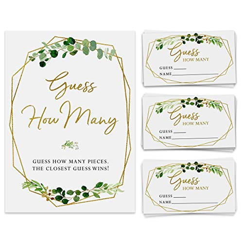 Candy Guessing Game, 50 Cards and Matching Sign, Guess How Many, Bridal Shower, Birthday Party, Wedding, Anniversary, Holiday Activity