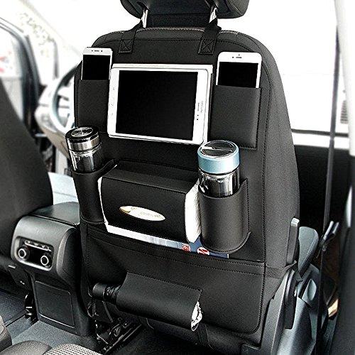 HCMAX 1 Pack Organisateur de Siège de Voiture Poche Backseat Stockage Protecteur Kick Mat Mini Porte-iPad Grand Accessoire de Voyage