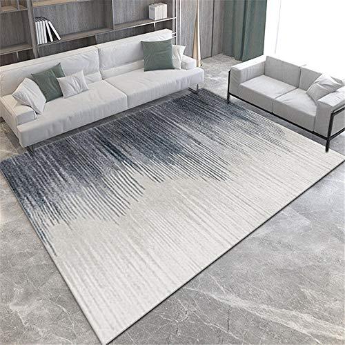 Alfombras alfombras Dormitorio Alfombra Lavable con diseño Degradado de Rayas Azul grisáceo fácil de Limpiar Rugs for Living Room alfombras Salon 80*150CM