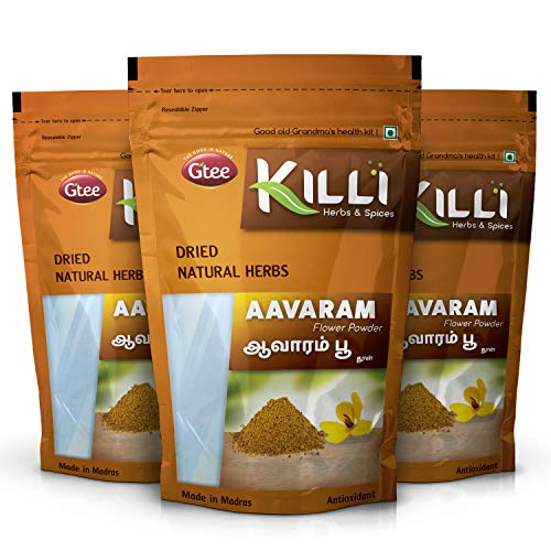 KILLI Avarampoo   Tarwar   Aavaram   Senna auriculata   Tangedu Flower Powder, 100g (Pack of 3)