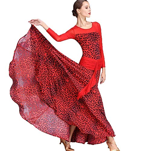 JTSYUXN Fashion Lange Mouw Moderne Dans Prestatie Kostuum Voor Vrouwen, Ijs Zijde afdrukken Standaard Ballroom Dans Jurk Grote Rok
