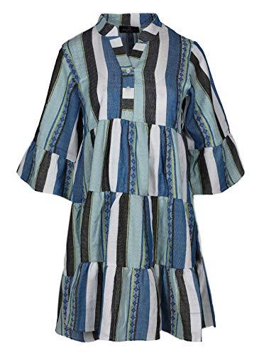 Zwillingsherz Sommerkleid im farbfrohen Design – Hochwertiges Festivalkleid für Damen Frauen Mädchen - Freizeitkleid Strandkleid - Locker luftig – OneSize - Perfekt für Frühling Sommer Herbst - blau