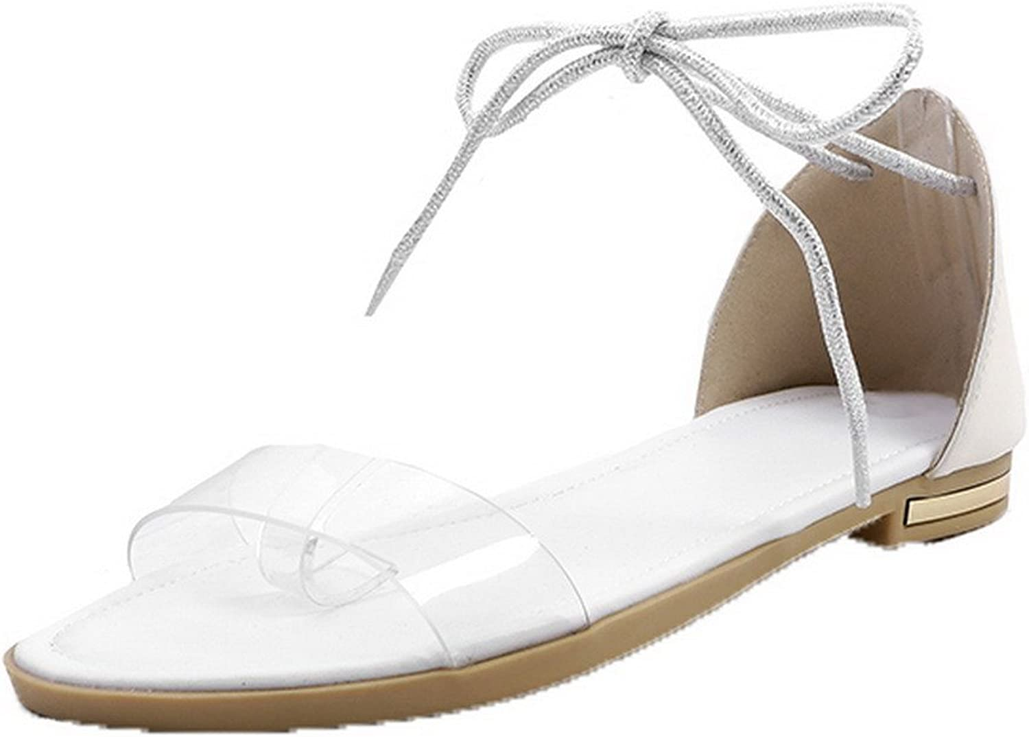 WeenFashion Women's Low-Heels Solid Lace-up Pu Open-Toe Sandals, AMGLW009747