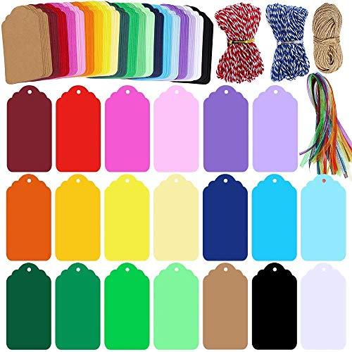 200 etiquetas de papel kraft con agujeros etiquetas de regalo coloridas etiquetas navideñas etiqueta rectangular con 3 cuerdas sinuosas y cinta de organza para manualidades (20 colores)