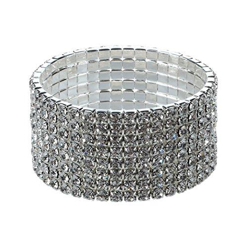 Exanko Wedding Bridal Stretchy 8 Row Rhinestone Bracelet Bangle 28 mm
