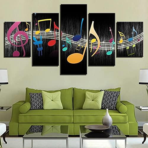 WLZJA 5 Pieza Cuadro en Lienzo Abstracto Moderno, Nota Musical Impresiones sobre Lienzo 5 Piezas Lienzos Moderno Arte Sala Decoración Regalo Creativo150x80CM
