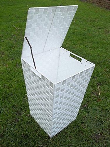 Panier à linge en nylon tressé avec cadre en métal Blanc