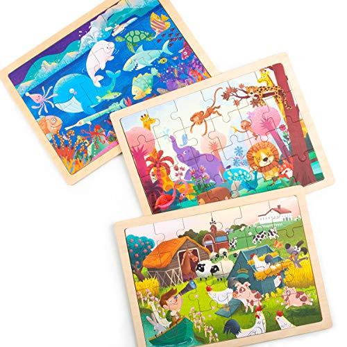 Robotime Jigsaw Puzzle 24 Piezas para niños de 3, 4, 5 años - Elegante, león, Tigre, Mono y Jirafa. Juguetes educativos de Madera para niños y niñas. (3 Pack)