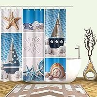 AFDSJJDK バスルーム用シャワーカーテン マリン研磨かわいい防水生地バスルームシャワーカーテン