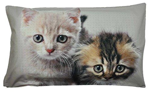 CASA TESSILE Federa Cuscino Letto Stampa Fotografica Due Gattini