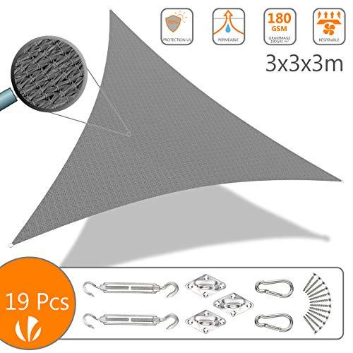 VOUNOT Voile d'ombrage Triangle avec Le Kit de Fixation | Matière résistante aéré 100% Nouveau HDPE-180g/m2 | Bloque 90% Rayons UV | Kit de Montage Inclus |Taille 3x3x3M Gris