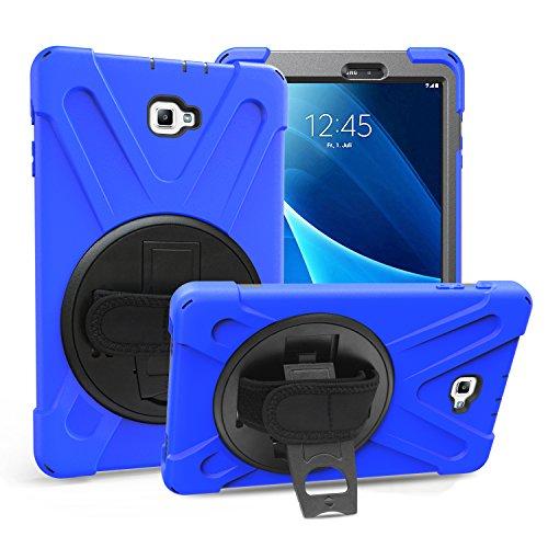 Gerutek Samsung Galaxy Tab A T580T585 2016 101 Zoll Hulle Stosfeste Robust Panzerhulle mit Drehbar Stande Handschlaufe Schultergurt Schutzhulle Startseite fur SM T580T585 Blau
