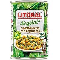 LITORAL Vegetal Garbanzos con Espinacas - Plato Preparado de Garbanzos Sin Gluten - 425g