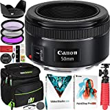 Canon EF 50mm f/1.8 STM Lens 0570C002 for EF Mount DSLR Cameras Professional Bundle with UV FLD CPL Filter Kit + Photo Video Editing Software Kit + Deco Gear Photography Case and Accessories Set
