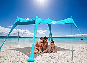 UMARDOO Beach Tent, Pop Up Beach Sunshade Sun Shelter with Carrying Bag (Turquoise, 10X9 FT(4 Poles))
