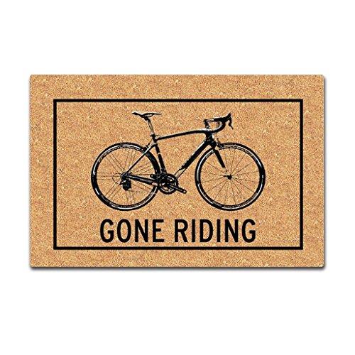 Eureya Gone Riding Bicicletas Estera de Entrada Felpudo Interior / Exterior Alfombra de Goma Salón Alfombras Decoración del Hogar 45x75cm