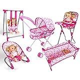 YUEBAOBEI 6-in-1-Kinder Deluxe Rollenspiele Puppe Spielset/Klappbett Bett/Adjustable-Schaukelsitz/Hochstuhl und Rocking Cradle Set/Simulation Spielzeug-Set
