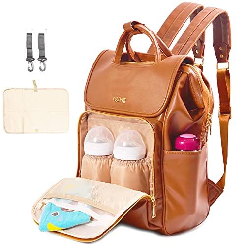 KZNI - Mochila de piel para pañales de viaje, mochila para pañales de bebé, unisex, con colgador para cochecito, bolsillos térmicos, ajustable, resistente al agua, gran capacidad (marrón)