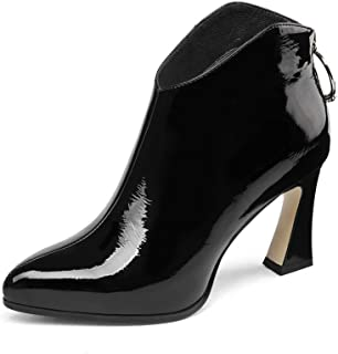 Nine Seven Patent Leather Women's Pointed Toe Chunky High Heel Back Zip Handmade Comfort Dress Ankle Boots