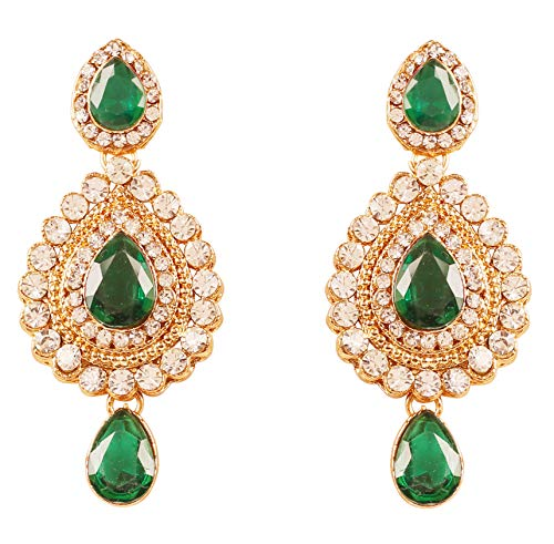 NEW! Touchstone Indian Bollywood Desire Contemporary Diamond Look White Rhinestone Faux Emerald Designer Jewelry Chandelier Earrings In Antique Gold Tone For Women