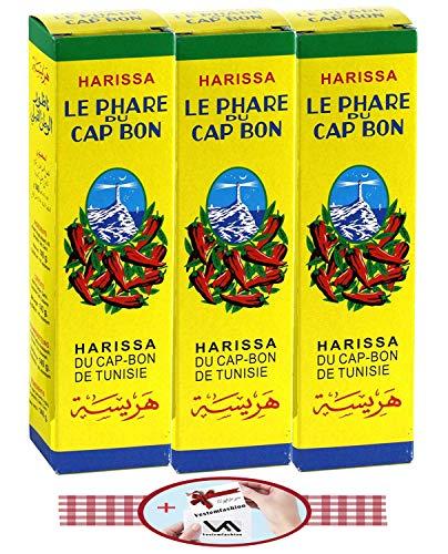 Le Phare du Cap Bon Harissa - Salsa de sabor del norte de África (Túnez), paquete de 3 tubos grandes de 140 g y 1 regalo pequeño exclusivo de Vestemefashion Team