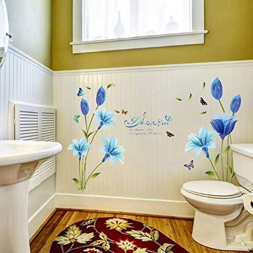 VIOYO Muursticker Vlinder Bloem Verwijderbare Decal Slaapkamer Woonkamer Badkamer Glas Tegel Decor Mural Zelfklevende Muurstickers Decoratie Blauw