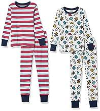 Amazon Essentials Snug-Fit Cotton Pajamas Sleepwear Sets Conjunto de Pijama, 4 Piezas West Coast, 6-7 años, Pack de 4