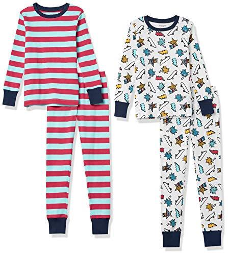 Amazon Essentials Snug-Fit Cotton Pajamas Sleepwear Sets Conjunto de Pijama, 4 Piezas West Coast, M,...