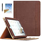 Case for iPad 2 / iPad 3 / iPad 4, Lingsor Multi-Angle Viewing Stand Folio Cover w/Pocket, Fit Model A1395 A1396 A1397 A1403 A1416 A1430 A1458 A1459 A1460, Magnetic Smart Case Auto Wake/Sleep, Brown