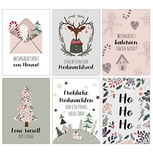 Weihnachtskarten Set - 12 liebevoll gestaltete Postkarten zu Weihnachten - Kunstdruck zum Verschicken, Pakete dekorieren und Sammeln - Grußkarte Weihachten - Winter Pastell Karten Set 15