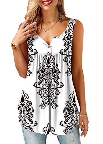 KISSMODA White Tank Shirts für Damen Sommer Tunika Tops ärmellos klein