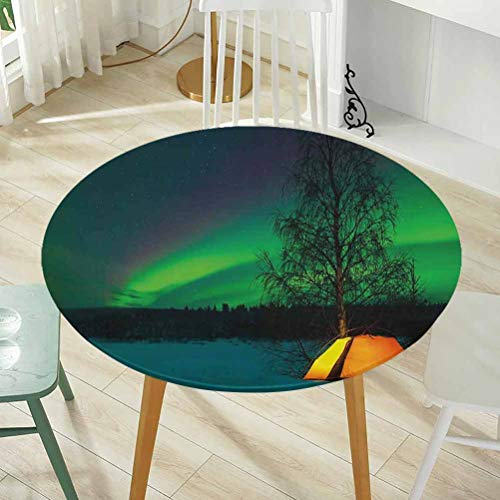 Round Tablecloth Diameter -60 Inch(Elastic Edge) 100% Polyester Washable Tablecloth Washable Tablecloth for Dinner,Camping Tent Under Magnetic Field Nature Picture Lime Green Dark Blue Earth Yellow